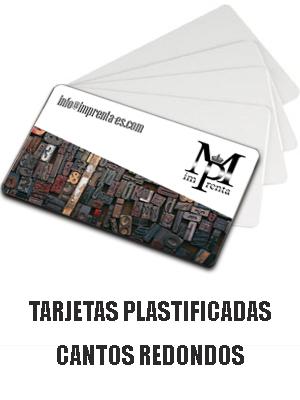 Tarjetas plastificadas con cantos redondos
